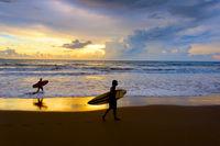 Surf beach scene. Bali island