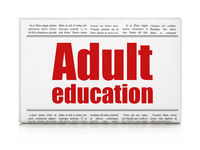 Learning concept: newspaper headline Adult Education