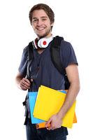 Student junger Mann jung lachen Jugendlicher Freisteller