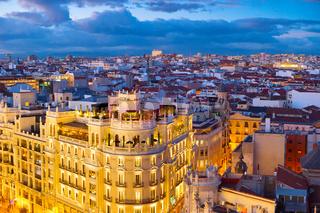 Madrid skyline aerial, Spain