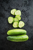 Sliced green cucumbers.