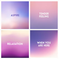 Abstract vector purple blurred background set 4 colors set. Square blurred backgrounds set - sky clouds sea ocean beach colors