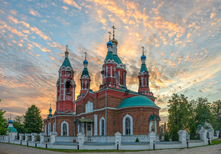 Russian church over burning sunset