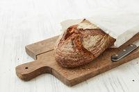Fresh oval organic bread