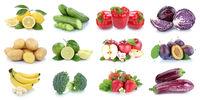 Obst und Gemüse Früchte Apfel Erdbeeren Zitrone Farben Collage Freisteller freigestellt isoliert