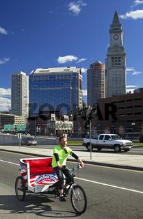 Fahrrad-Rikscha im Stadtzentrum von Boston, USA