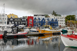 Torshawn, Capital of Faroe Islands with its downtown area and port in bay
