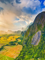 Aerial view of the fields and mountain. Beautiful landscape. Laos.