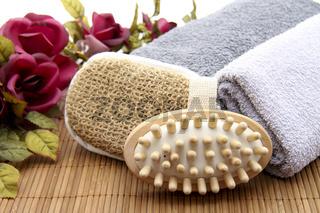 Massagebürste und Schwamm