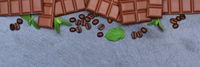 Schokolade Milchschokolade Tafel Schiefertafel Essen Banner Textfreiraum von oben