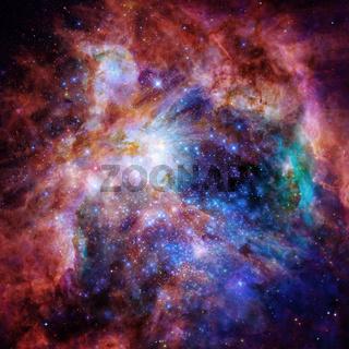 Universe filled with nebula, stars and galaxy.