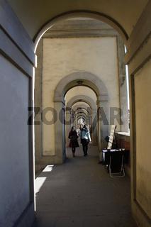 Florenz, Arkadengang zwischen Uffizien und Ponte Vecchio
