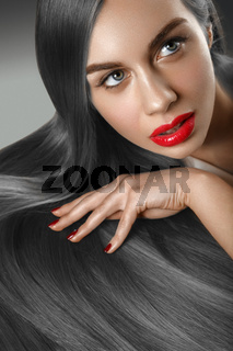 girl with beautiful long hair
