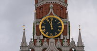 Moscow Kremlin Main Clock named Kuranti on Spasskaya Tower 12 hours . Red Square.