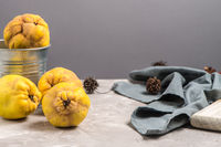 Ripe quince fruits