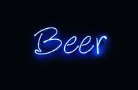 Close up BEER blue neon light sign over black