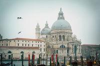Beautiful view on famous Canal Grande with Basilica di Santa Maria della Salute