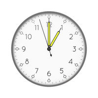 a clock shows 1 o'clock
