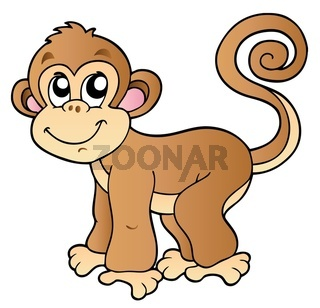 Cute small monkey - isolated illustration.