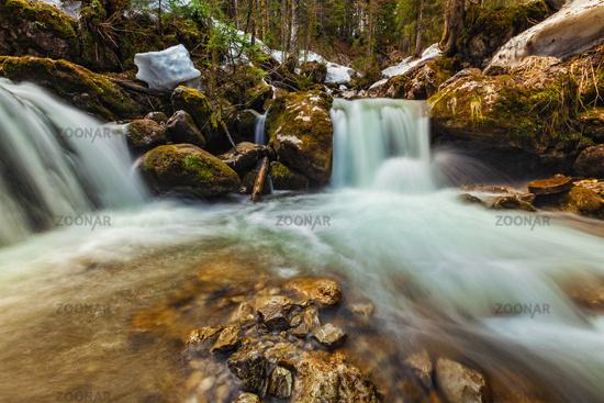 Cascade of Sibli-Wasserfall. Rottach-Egern, Bavaria,  Germany