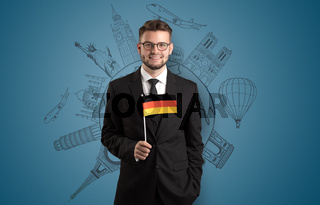 Elegant man with sightseeing concept and flag