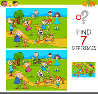 find differences with kids and dogs characters