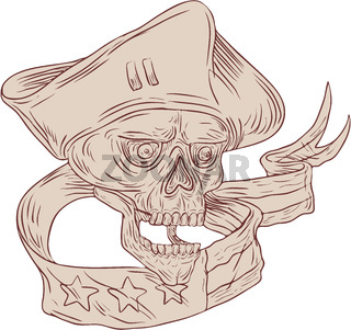 Skull Patriot Ribbon Flag Drawing