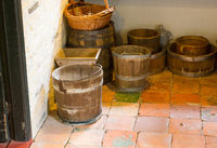 Wooden buckets in an old dutch house