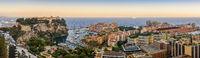 Monaco Ville Harbour sunset panorama city skyline, Monte Carlo, Monaco