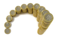 stacked Euro coins in form of an chart