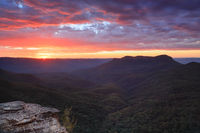 Sunrise views over Jamison Valley to Mount Solitary Australia