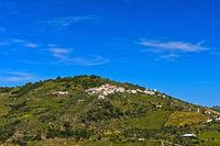 Blick auf den Ort Casal de Loivos im Weinbaugebiet Alto Douro, Portugal