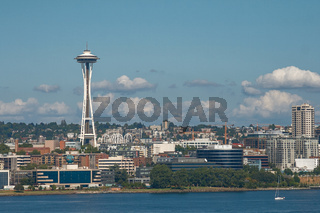Skyline of Seattle and Space Needle Tower in Washington, United States.
