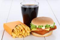 Fischburger Fisch Burger Backfisch Hamburger Menu Menü Menue Pommes Frites Cola