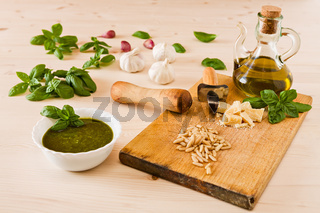 Fresh pesto genovese sauce