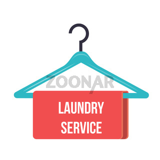 hanger with the inscription Laundry service - Hanger Vector Icon