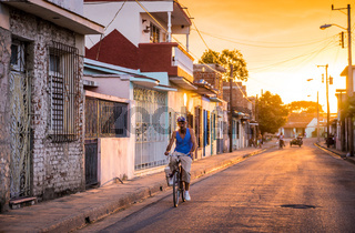 Man on bicycle in Cuban street