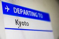 Computer screen close-up of flight to Kyoto, Japan