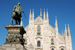 Milan Cathedral and monument to king Vittorio Emanuele II