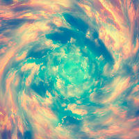 Spiral tunnel from clouds. Bright colorful fairy tale square background. Abstract texture heaven concept. Vintage toned