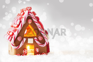 Gingerbread House, Gray Bokeh Background, Copy Space