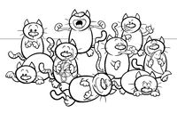 funny cats cartoon illustration color book