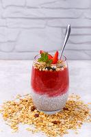Chia strawberry pudding