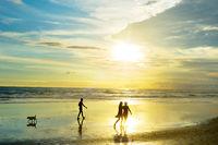 People walking at ocean beach