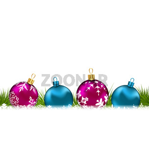 Christmas invitation with colorful glass balls