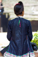 Biasha Miao Minority Woman Rear Bun Hairstyle