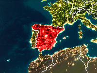 Map of Spain at night