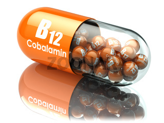 Vitamin B12 capsule. Pill with cobalamin. Dietary supplements.