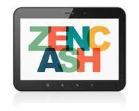 Blockchain concept: Tablet Computer with Zencash on  display