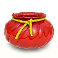 red ceramic Flower Pot with yellow cord